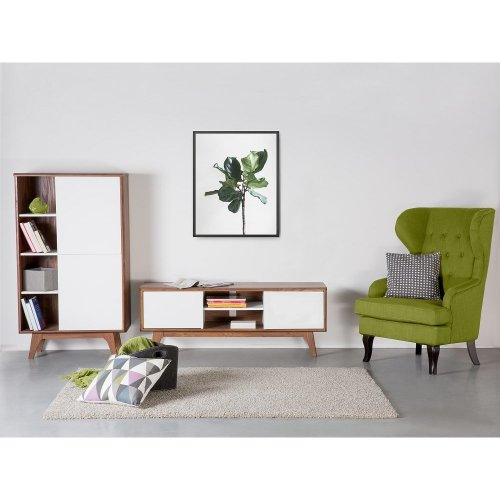 TV Stand - TV Cabinet - Media Unit - Brown and White - ROCHESTER