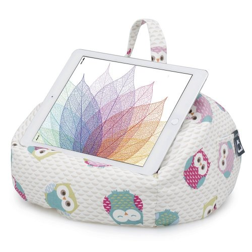 iBeani iPad & Tablet Stand/Bean Bag Cushion Holder for All Devices/Any Angle on Any Surface - Owls