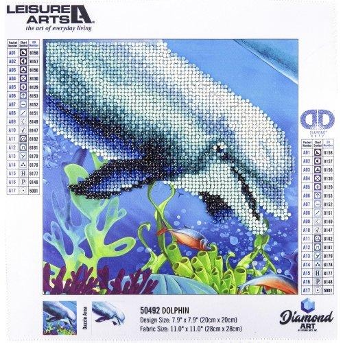 """Leisure Arts Sparkle Art Diamond Paint Kit 10.63""""X10.63""""-Dolphin"""