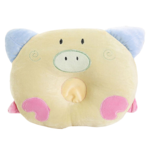 Adorable Soft Anti-roll Pillow Prevent Flat Head-Lovely Pig,Yellow
