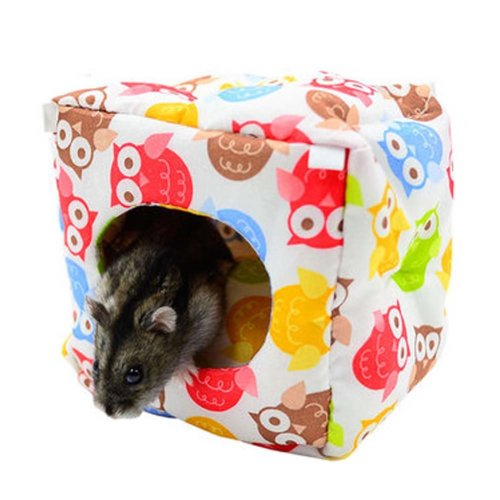 Warm Soft Pet House with Bed Mat for Hamster, Lovely Plush Pouch, 11*10*10 CM