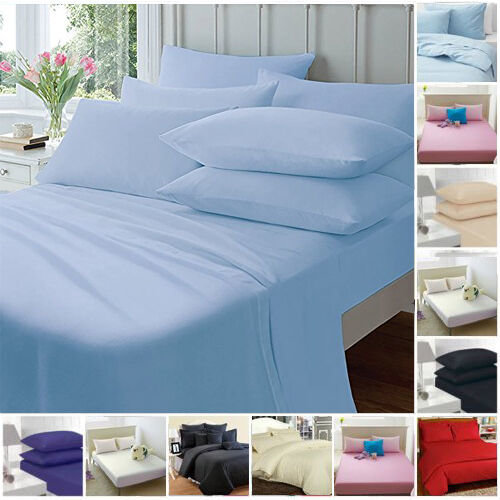 FITTED SHEETS PERCALE PLAIN DYED COMBED KING