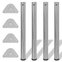 4 Height Adjustable Table Legs Brushed Nickel 710 mm