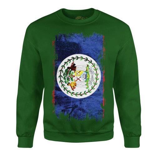 Candymix - Belize Grunge Flag - Unisex Adult Sweatshirt, Size 3X-Large, Colour Dark Navy, Size Medium, Colour Bottle Green