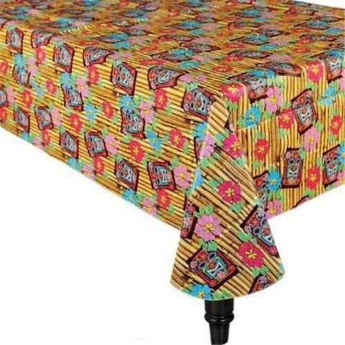 224 & Amscan 570901 Tiki Time Flannel-Backed Vinyl Table Cover - Pack of 6