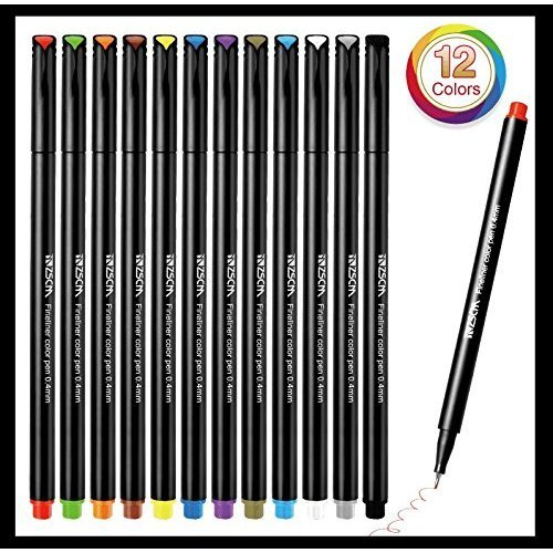 Fineliner Pen Set, 0.4 mm Fine Line Drawing Pen, 12 Colors Fine Tip Colored for Writing Markers Pens Pack of 12