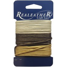 Realeather Crafts Round Leather Lace 2mmX9yd Carded-Gold, Silver & Bronze