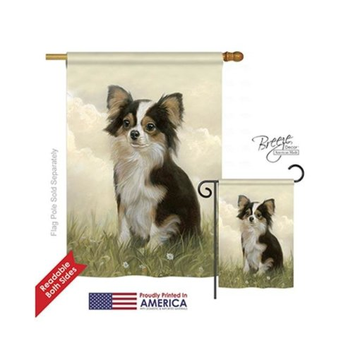 Breeze Decor 10094 Pets Chihuahua 2-Sided Vertical Impression House Flag - 28 x 40 in.