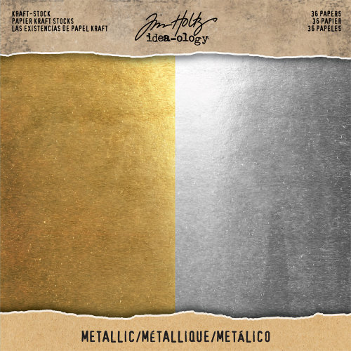 "Idea-Ology Kraft Stock Cardstock Pad 8""X8"" 36/Pkg-Metallic Gold & Silver/18 Each"