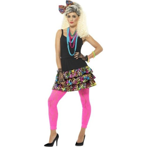 Smiffy's 41567sm 80's Party Girl Kit (small/medium) -  party girl ladies fancy dress 1980s neon retro dancer womens costume adults kit funky