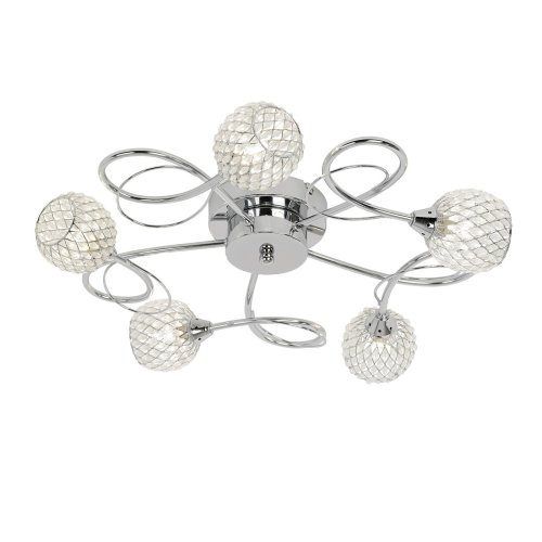 Stylish 5 Arm Flush Ceiling Light With Glass Beads