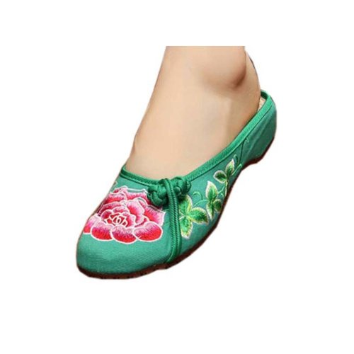 Womens Embroidered Summer Slippers Wedges Sandals Shoes for Cheongsam, #17