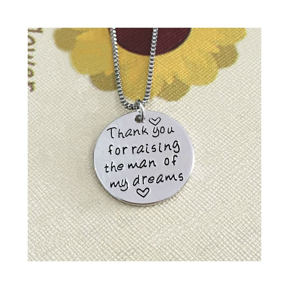 Silver-Tone 'Thank You For Raising The Man Of My Dreams' Engraved Pendant  Necklace 2 5cm Diameter With 18 Inch Chain Mother Father In-Law