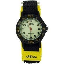 Relda Nite-Glo Quartz Luminous Dial Yellow & Black Velcro Girls/Boy Watch REL59
