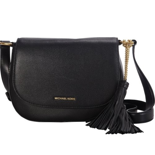 Michael Kors Elyse Large Black Leather Saddle Bag