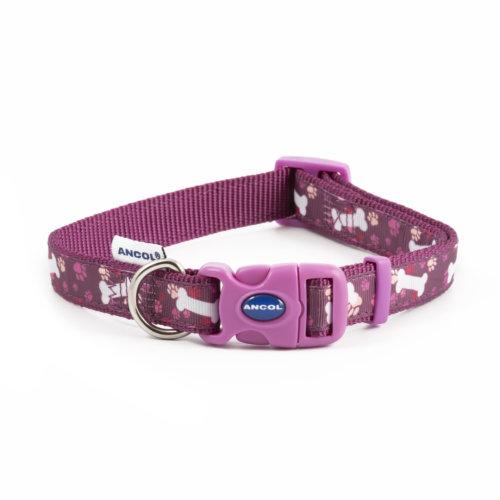 Fashion Adjustable Nylon Collar Purple Bone 30-50cm