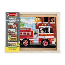 Melissa & Doug Wooden Kids Puzzles In A Box Vehicles 48 pieces