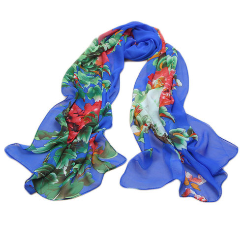 Kylin Express Womens Emulation Silk Chinese Peony Scarve(Navy Blue)