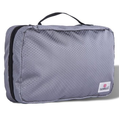 Suvelle T661GY Hanging Toiletry Bag Compact Travel Kit Organizer for Men & Women - Grey