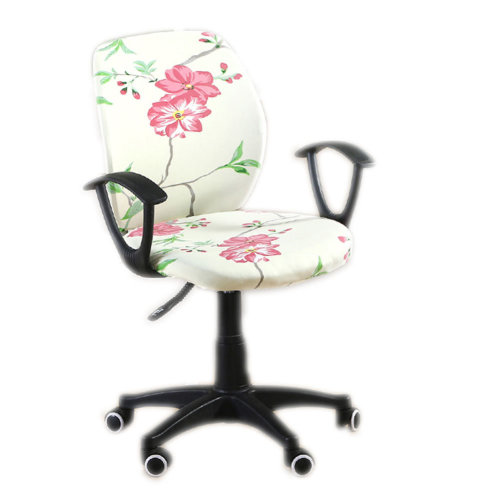 Household Elasticity Rotatable Office Chair Cover Simple Style[Begonia Flowers]