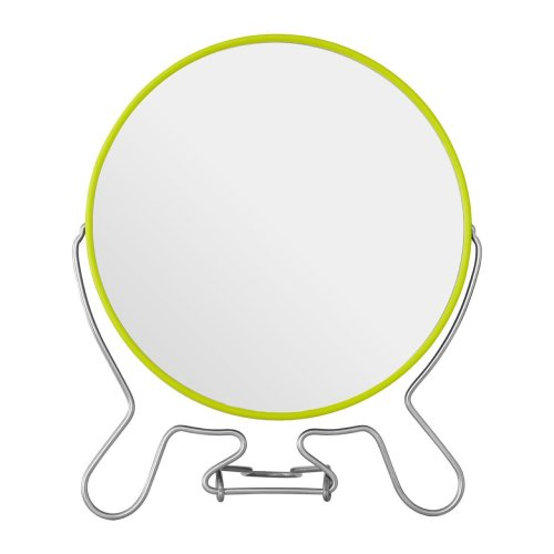 Lime Green Metal Shaving Mirror With Double Magnification