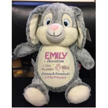 Soft Grey Bunny - Personalised With Message, Name or Birth Date