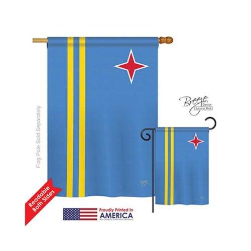 Breeze Decor 08340 Aruba 2-Sided Vertical Impression House Flag - 28 x 40 in.