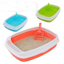 3 Colors Cat Litter Box Set Pet Toilet with Shield Scoop  Clumping Litter Open Top