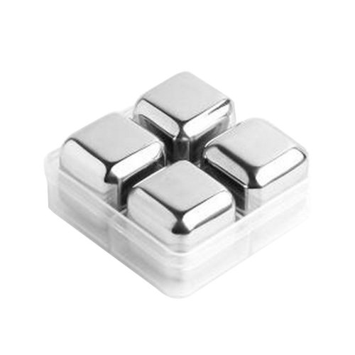Set of 4 Stainless Steel Ice Cube Stainless Steel Reusable Ice Cubes [Square]