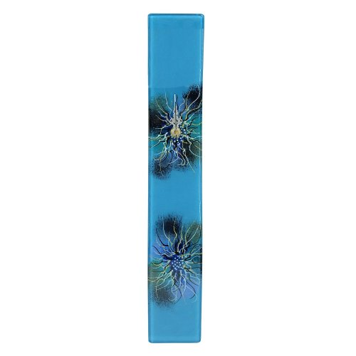 Home Decoration Hand Painted Blue Thermoformed Glass Wall Clock