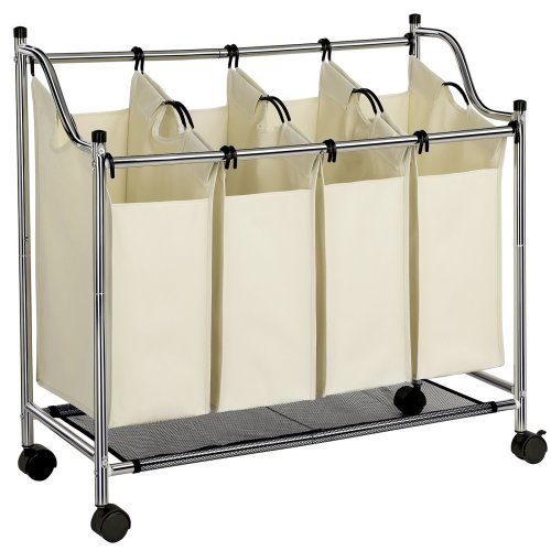 SONGMICS Chrome Plated Metal Frame Laundry Basket Cart Bin Hamper Trolley with 4 Sorter Beige Capacity: 140 L LSF005S