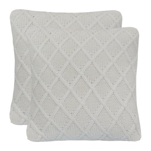 vidaXL 2x Cushions Heavy Knit Cotton 45x45cm Off White Bedding Throw Pillow