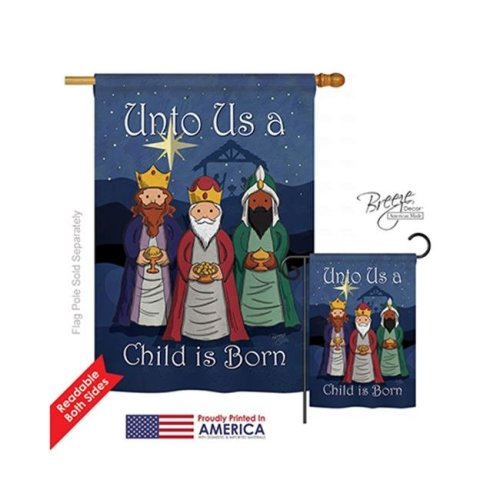 Breeze Decor 14129 Nativity Child is Born 2-Sided Vertical Impression House Flag - 28 x 40 in.