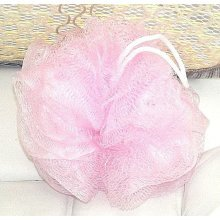 Pink Bath Shower Body Puff Sponge Mesh Soft Ball Scrunchie Wash Brand New