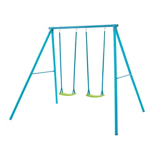 TP Toys Double Metal Swing Set Blue With 2 Adjustable Lime Green Seats Ages 3 - 12 years