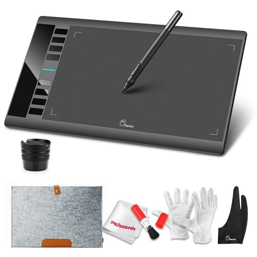 "Parblo A610 Graphics Drawing Tablet 10x6"" Pen Graphics Tablet with 8 Express Keys and with Wool Felt Liner Bag"