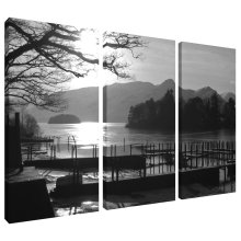 Jetty at Derwent Water Lake District Canvas Wall Art Print 3 Panel Split Picture