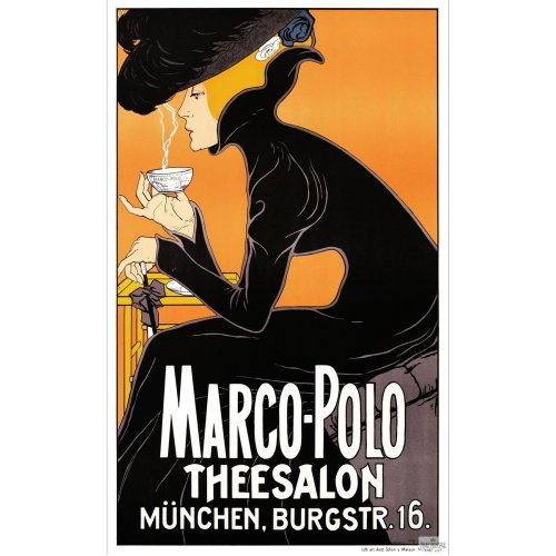 Advertising poster - Marco Polo Theesalon - High definition printing on stainless steel plate