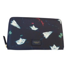 RADLEY 'Paper Trail' Large Navy Blue Oilskin Travel Wallet