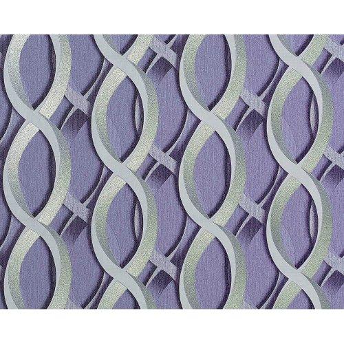 EDEM 601-92 wallpaper non-woven 3D chain retro pattern lilac silver | 10.65 sqm