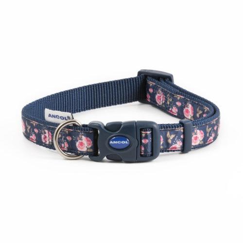 Fashion Adjustable Nylon Collar Navy Rose 30-50cm