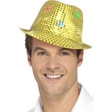 Flashing Sequin Hat - Gold - Light Up Trilby Fancy Dress LED Festival Party -  light up sequin trilby hat fancy dress gold led festival party