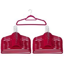 50 Pink Non Slip Velvet Hangers With Tie Belt Scarf Holder