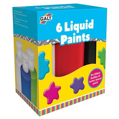 Glat Pack Of 6 Liquid Paints Art Set - Galt Young Toys Six 250ml -  galt young art liquid paints toys six 250 ml