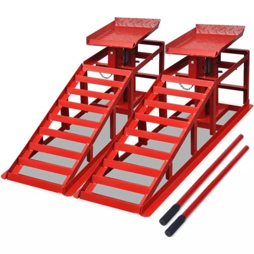 vidaXL 2x Car Repair Ramps Red Steel Hydraulic Loading Motobike Vehicle Rail