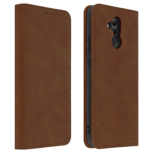 Flip Book cover wallet case with stand for Huawei Mate 20 Lite - Brown