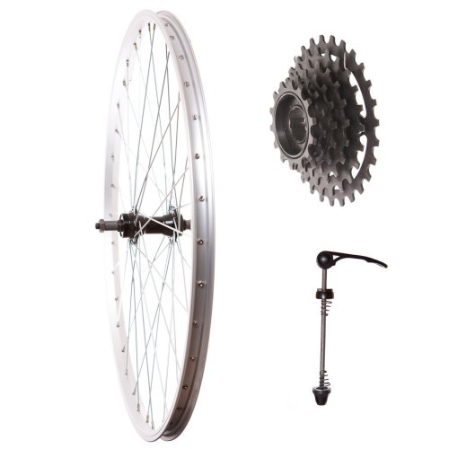"Rear 26"" MOUNTAIN BIKE WHEEL WITH Quick Release Hub + 6sp COG + Skewer SILVER"