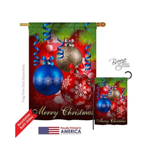 Breeze Decor 14083 Christmas Ornaments 2-Sided Vertical Impression House Flag - 28 x 40 in.