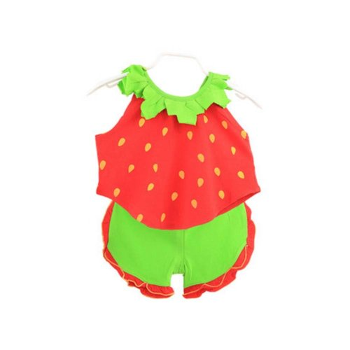 Sleeveless Strawberry Baby Suit Kids Cloth,100cm