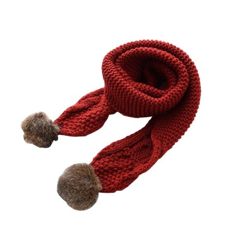 Soft Comfortable Winter Scarf Knitted Kids Neck Warmer-Wine Red